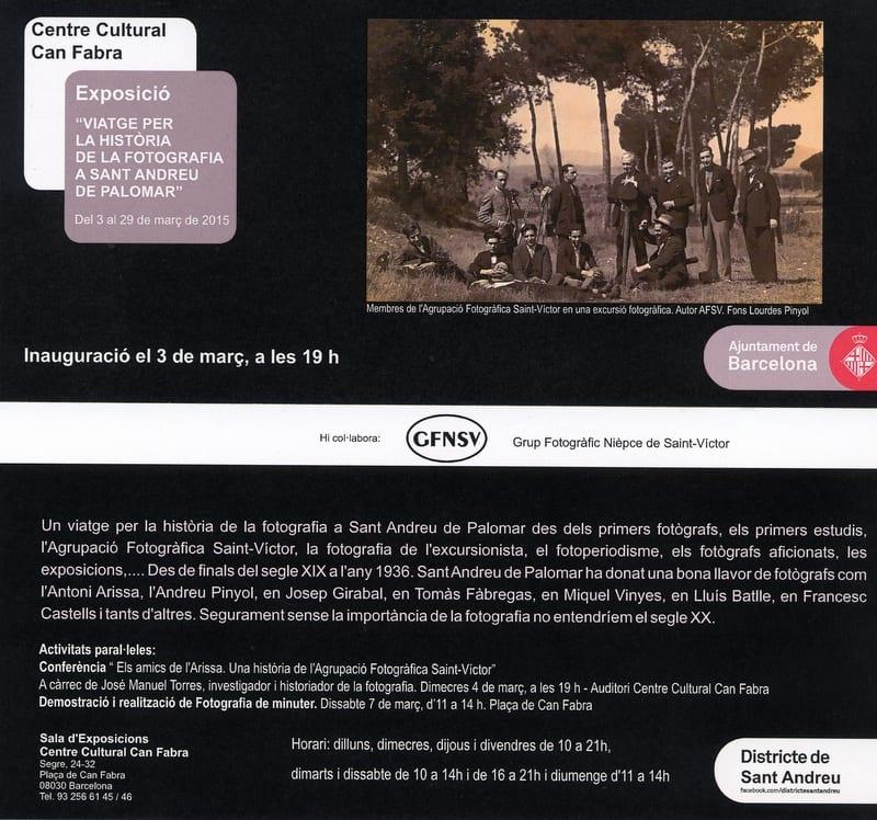 Visita guiada a l'exposició Viatge per la història de la fotografia a Sant Andreu de Palomar. 16/03/2015